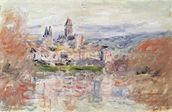 The Village of Vetheuil, c.1881 (oil on canvas) wallpaper mural thumbnail