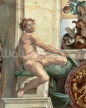Sistine Chapel Ceiling (1508-12) detail of one of the ignudi (fresco) (detail of 167695) mural wallpaper thumbnail