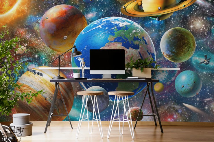 colourful digital art of the solar system in cool, on-trend office