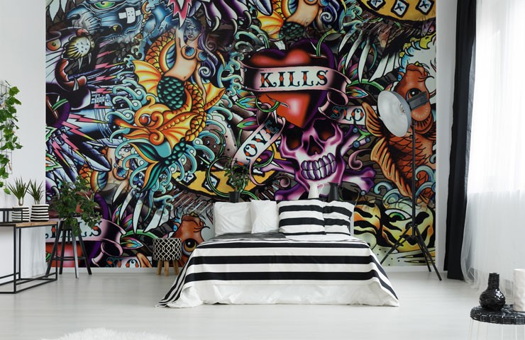 tattoo skull wallpaper in black and white apartment bedroom