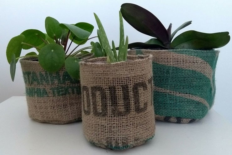 coffee bean sack plant pots with green plants inside