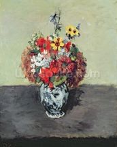 Flowers in a Delft vase, c.1873-75 (oil on canvas) wallpaper mural thumbnail