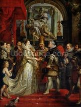 The Proxy Marriage of Marie de Medici (1573-1642) and Henri IV (1573-1642) 5th October 1600, 1621-25 (oil on canvas) mural wallpaper thumbnail