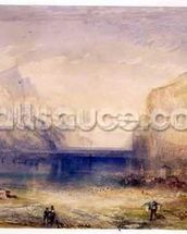 Fluelen: Morning (looking towards the lake) 1845 (w/c and gouache with scratching out on wove paper) mural wallpaper thumbnail