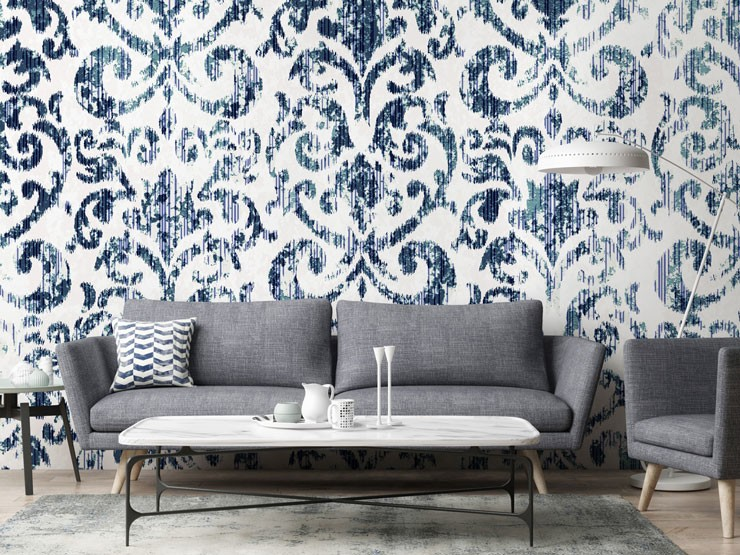 printed blue and white vintage wallpaper in grey lounge
