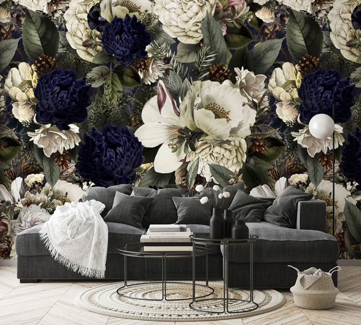 grey, navy and white illustration of dark flowers wallpaper in grey lounge