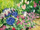 Beautiful Garden Of Flowers Along Stone Pathway wall mural thumbnail