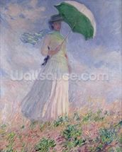 Woman with a Parasol turned to the Right, 1886 (oil on canvas) mural wallpaper thumbnail