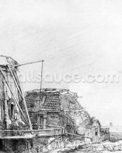 The Windmill, 1641 (etching) mural wallpaper thumbnail