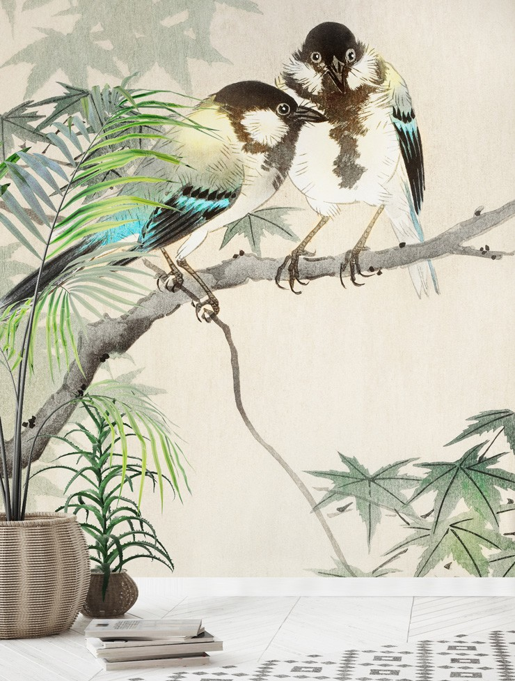 illustrated great tits wallpaper in a white, boho lounge