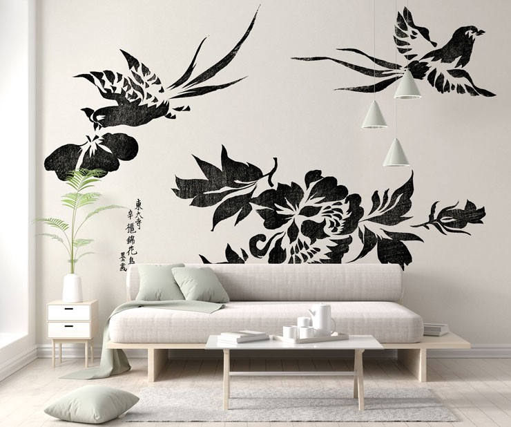 black and white pheasant block print wallpaper in light grey and white lounge