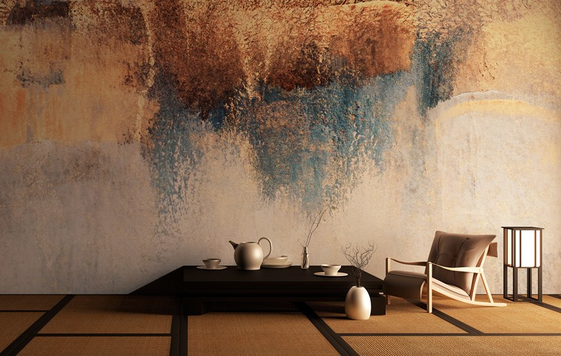 raw brown, blue and cream abstract art with low table and legless chair in room with tatami mats