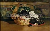 Still Life: Guitar and Sombrero, 1862 (oil on canvas) wall mural thumbnail