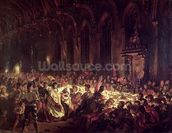 The Assassination of the Bishop of Liege, 1829 (oil on canvas) wall mural thumbnail