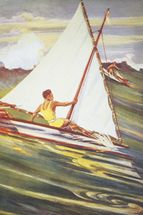 Man Windsurfing On Wave, C. 1921, Art By Gilles wall mural thumbnail