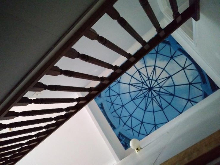 glass ceiling wallpaper on landing ceiling