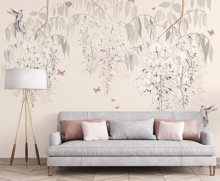 pastel pink floral and bird wallpaper in minimalist lounge