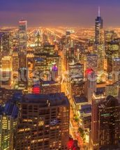 Chicago Skyline at Night wall mural thumbnail