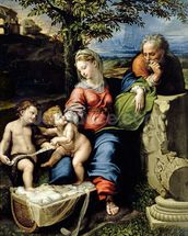 The Holy Family of the Oak Tree, c.1518 (oil on panel) wall mural thumbnail