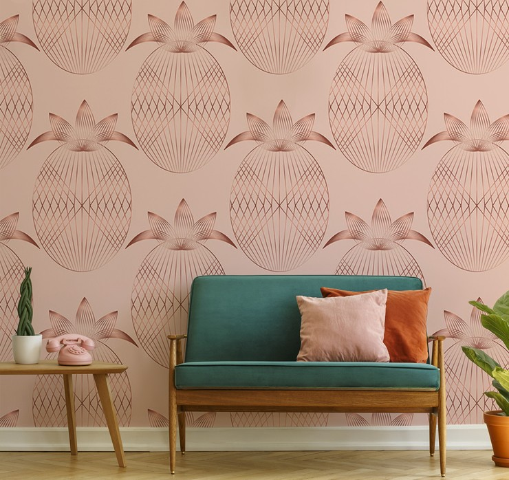 art deco blush pink and rose gold pineapples