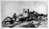 Landscape with a Tower, 1650 (etching) mural wallpaper thumbnail