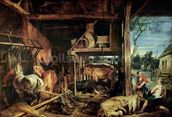 The Return of the Prodigal Son, c.1618 (oil on canvas) mural wallpaper thumbnail