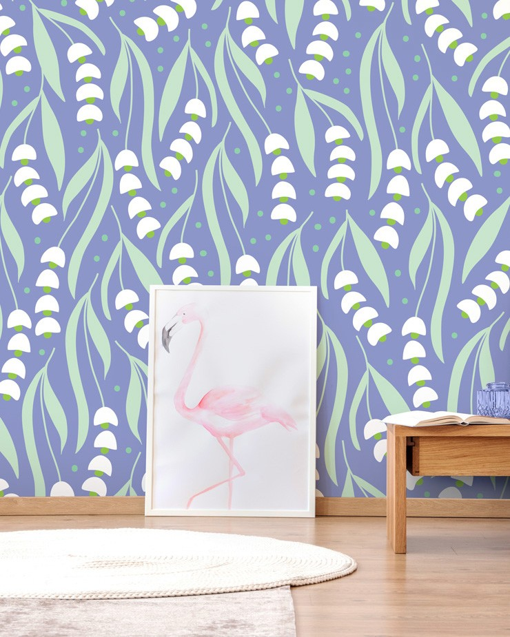 blue-floral-wallpaper-in-bedroom