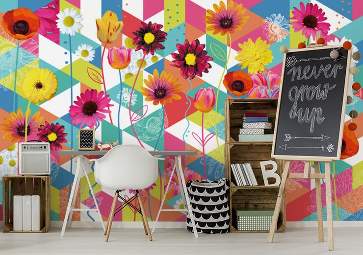 very colourful pattern and flower wallpaper in childrens study room