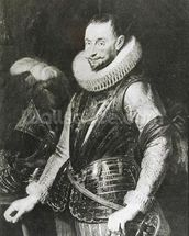 Portrait of Marquis Ambrogio Spinola (1569-1630) (oil on panel) (b/w photo) wallpaper mural thumbnail