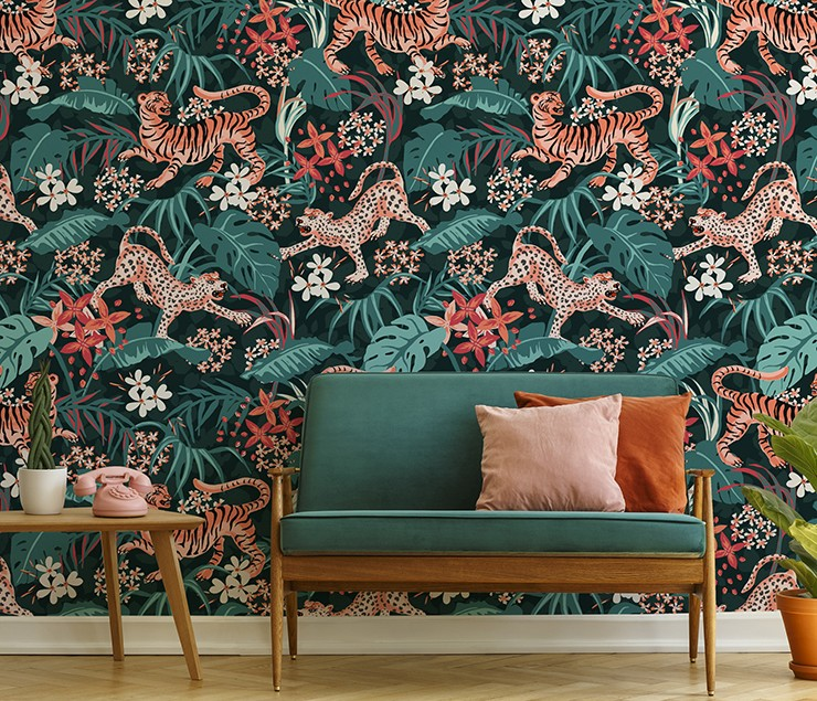 illustrated jungle and tiger vintage style wallpaper
