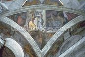 Sistine Chapel Ceiling: Judith Carrying the Head of Holofernes (spandrel) (pre restoration) wallpaper mural thumbnail