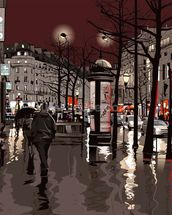 Paris at night wallpaper mural thumbnail