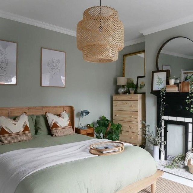 off white and pale green bedroom