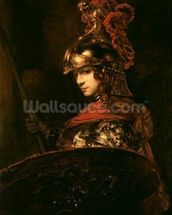 Pallas Athena or, Armoured Figure, 1664-65 (oil on canvas) wall mural thumbnail