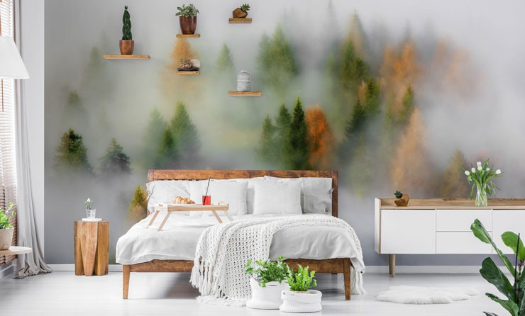 misty autumn forest wall feature in nature inspired bedroom