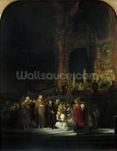 The Woman taken in Adultery, 1644 (oil on panel) wallpaper mural thumbnail