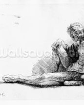 Man seated on the ground, 1646 (etching) mural wallpaper thumbnail