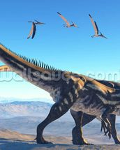 Allosaurus on Mountain wallpaper mural thumbnail