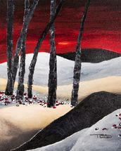 Painting of a Dramatic Landscape with Red Sky wall mural thumbnail
