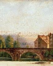 The Pont de Nahin at Ornans, c.1837 (oil on canvas) mural wallpaper thumbnail