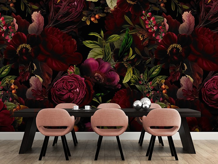dark fuschia illustrated flowers in pink dining room