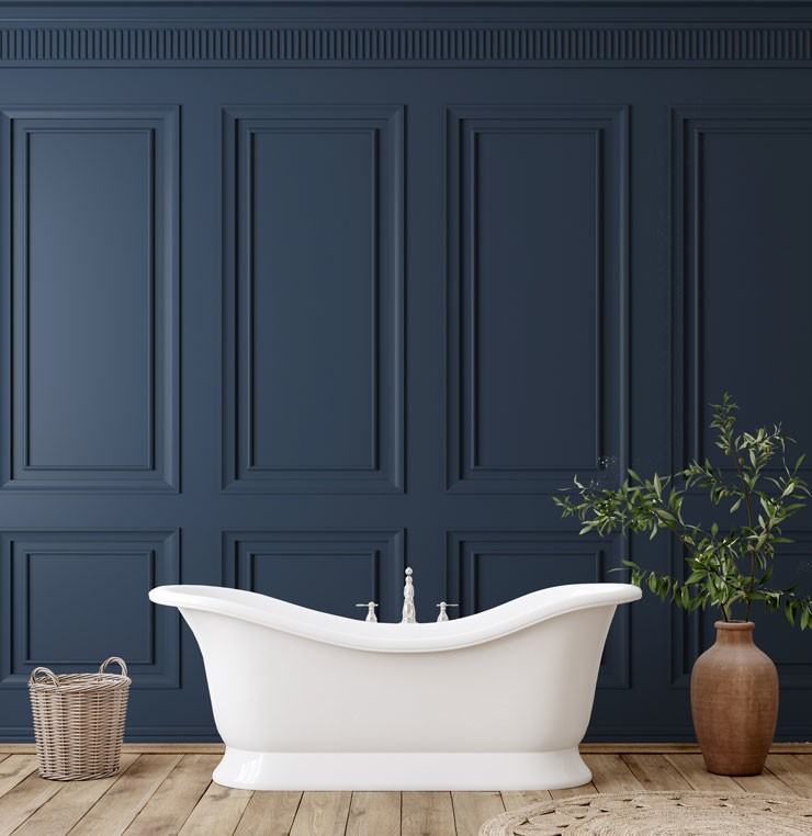 3D navy blue panel wallpaper in luxury bathroom with free standing bath tub