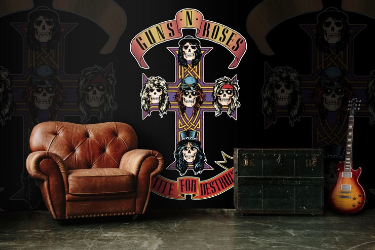 guns and roses cross wallpaper in rock lounge