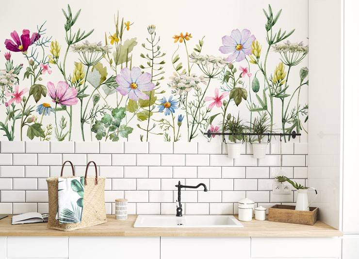 white country kitchen with meadow flower wallpaper above white tiles