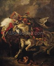 The Battle of Giaour and Hassan, after Byrons poem, Le Giaour, 1835 (oil on canvas) mural wallpaper thumbnail