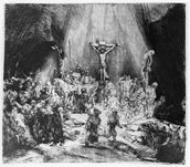 The Three Crosses, 1653 (drypoint) wall mural thumbnail