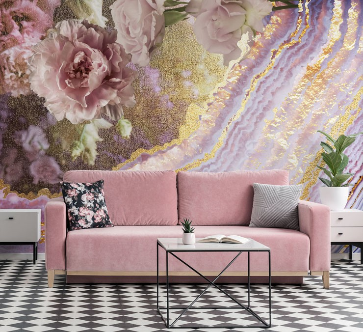 pink, purple and gold floral and geode wallpaper in cool black and pink lounge