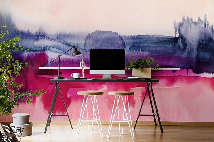 abstract pink, purple paint on white background wallpaper in home office