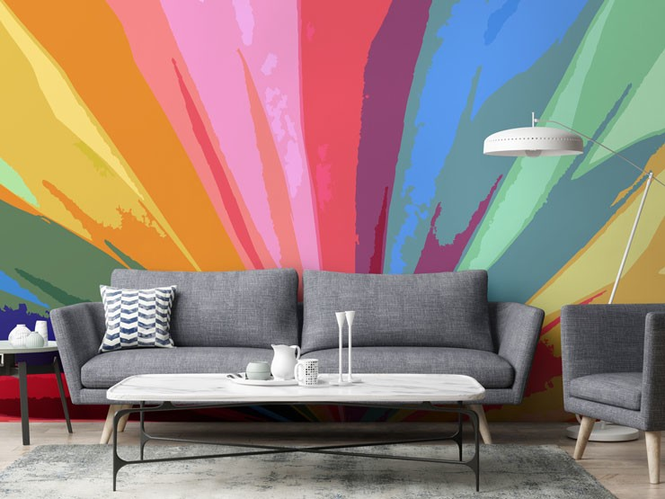 painted rainbow strokes wallpaper in grey lounge