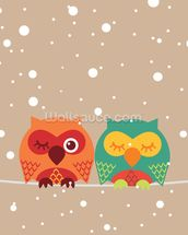 Two Owls wallpaper mural thumbnail